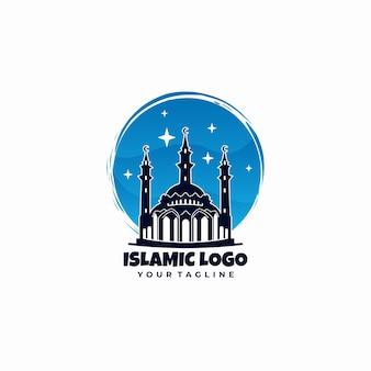 Logo eenvoudige blauwe islamitische moskee