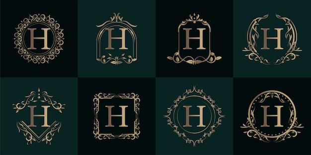 Logo eerste h met luxe ornament of bloem frame, collectie instellen