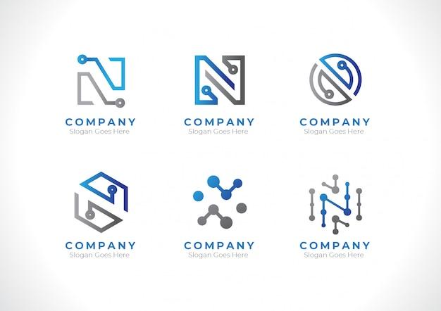 Logo eerste letter n technologie