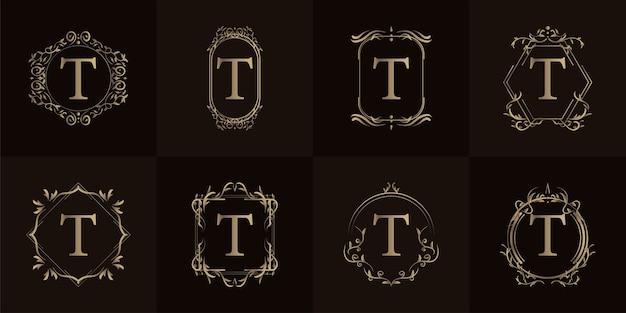Logo eerste t met luxe ornament of bloemframe, set collectie.