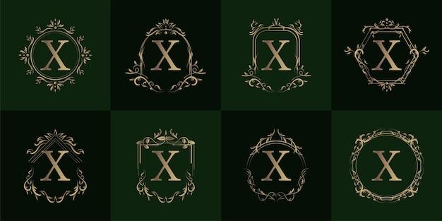 Logo eerste x met luxe ornament of bloemframe, set collectie.