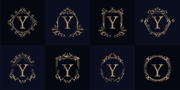 Logo eerste y met luxe ornament of bloemframe, set collectie.