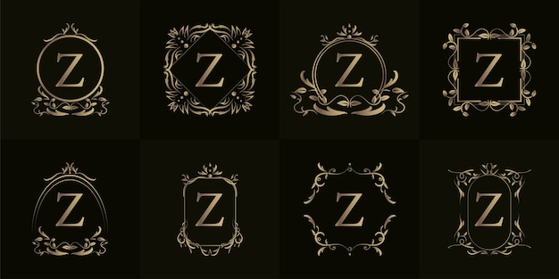 Logo eerste z met luxe ornament of bloemframe, set collectie.