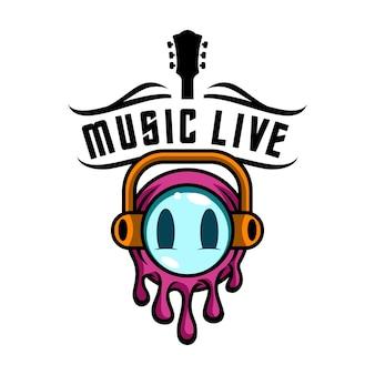 Logo emoji-muziek live voor entertainmentmedia en muziekclub