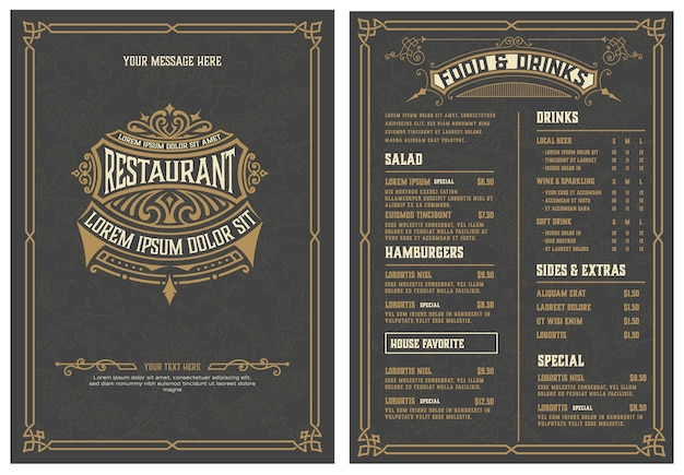 Logo en menusjabloon met gedetailleerd ontwerp