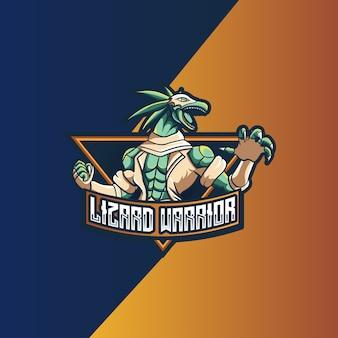 Logo esport whit hagedis krijger karakter pictogram