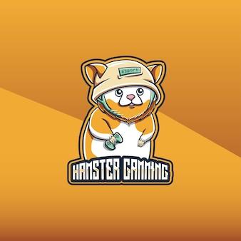 Logo esport whit schattige hamster gaming karakter pictogram