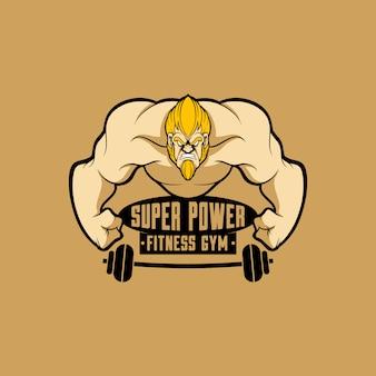 Logo fitness gym mascotte logo met cartoon stijl