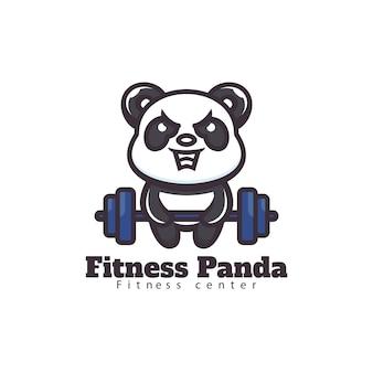 Logo fitness panda mascotte cartoon-stijl