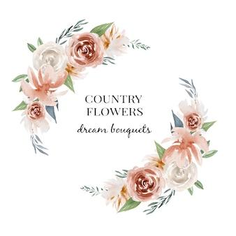 Logo floral aquarel, kaarten ontwerp Premium Vector