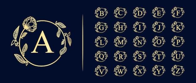 Logo floral sjabloon in trendy lineaire stijl. plant en monogram met elegante bladeren. embleem voor mode-, beauty- en sieradenindustrie.