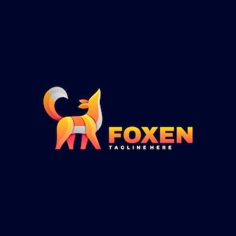 Logo fox gradient kleurrijke stijl.