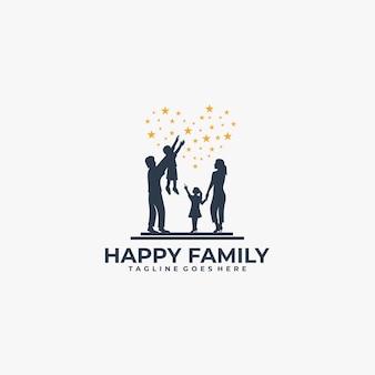 Logo gelukkige familie silhouet
