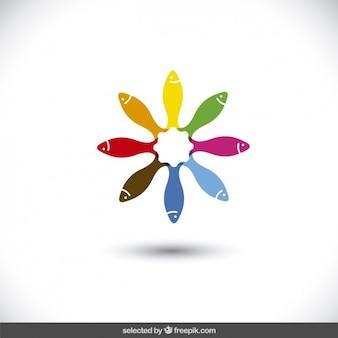 Logo gemaakt met kleurrijke vissen