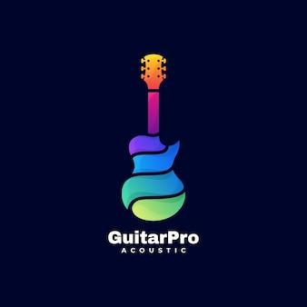 Logo guitar pro gradient kleurrijke stijl.