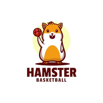 Logo hamster basketbal mascotte cartoon stijl