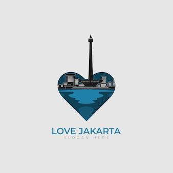 Logo hart liefde jakarta stad vector ontwerp