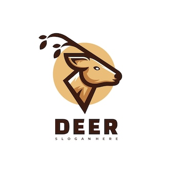 Logo herten eenvoudige mascotte stijl.
