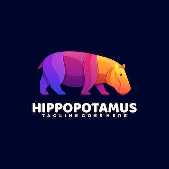 Logo hippo gradient kleurrijke stijl.