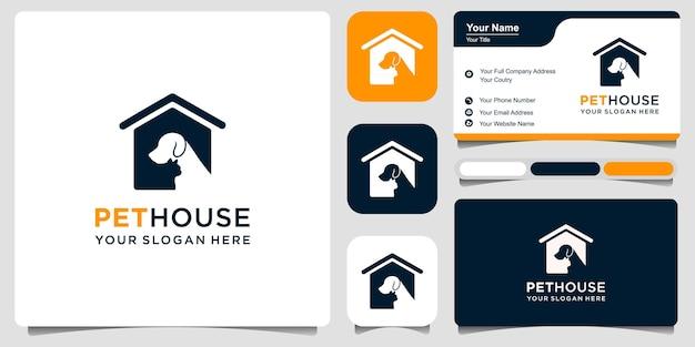 Logo hond en kat, huisdier huis logo vector pictogram illustratie en visitekaartje premium vector