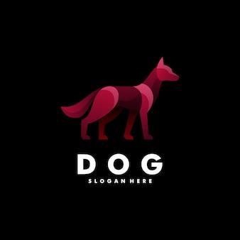 Logo hond kleurovergang kleurrijke stijl.