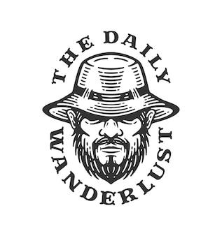 Logo hoofd man draagt safari-hoed, brede rand. label van outdoor bergbeklimmen in vintage design. wanderlust illustratie