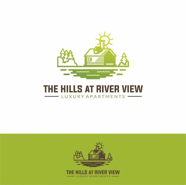 Logo house real estate bij river simple modern