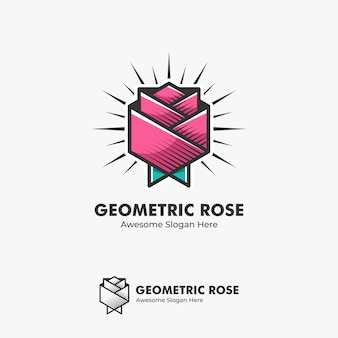 Logo illustratie abstract rose flower geometrische vorm in line art coloring style