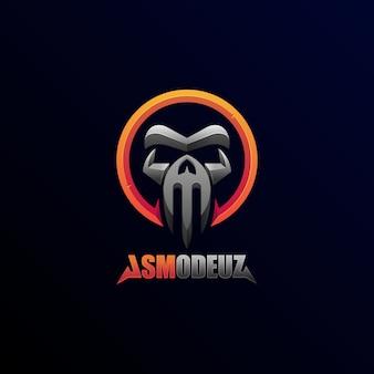 Logo illustratie abstracte geometrische schedel duivel beest futuristische embleem badge stijl