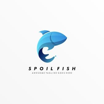Logo illustratie bedorven vis kleurrijke stijl