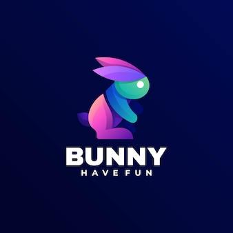Logo illustratie bunny gradiënt kleurrijke stijl