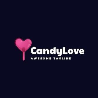 Logo illustratie candy love gradiënt kleurrijke stijl