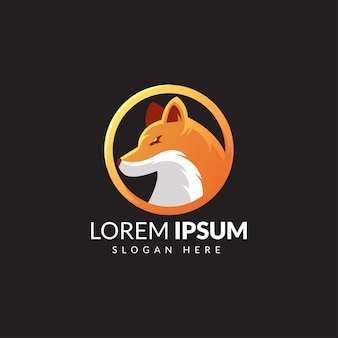 Logo illustratie fox e sport gradient orange