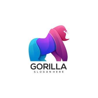 Logo illustratie gorilla kleurovergang kleurrijke stijl