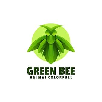 Logo illustratie groene bijen kleurovergang kleurrijke stijl