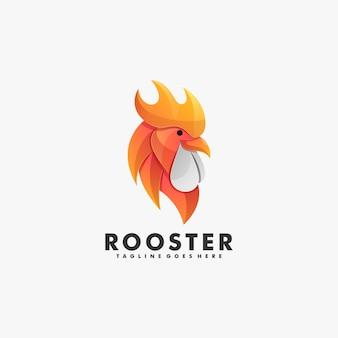 Logo illustratie haan kleurovergang kleurrijke stijl.