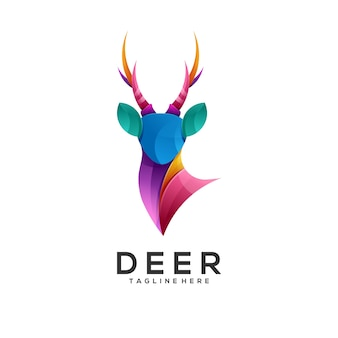 Logo illustratie herten kleurverloop kleurrijke stijl