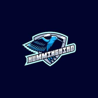 Logo illustratie humming bird e sport sportstijl