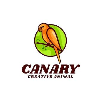 Logo illustratie kanarie eenvoudige mascotte stijl