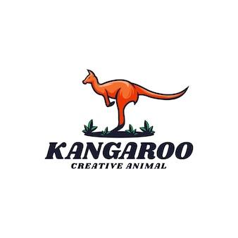 Logo illustratie kangoeroe eenvoudige mascotte stijl Premium Vector