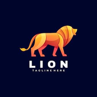 Logo illustratie lion gradient kleurrijke stijl.