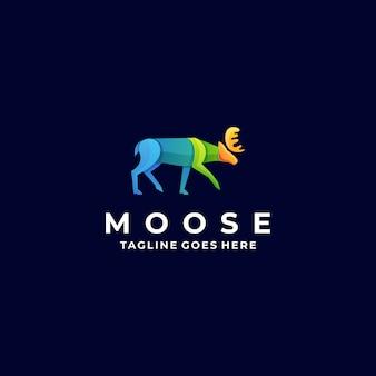 Logo illustratie moose pose gradient kleurrijk
