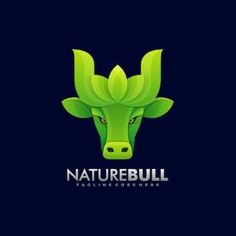 Logo illustratie natuur bull kleurovergang kleurrijke stijl.
