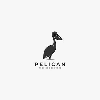 Logo illustratie pelikaan silhouet stijl.