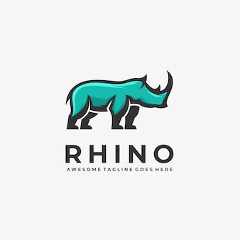 Logo illustratie rhino elegante mascotte cartoon stijl