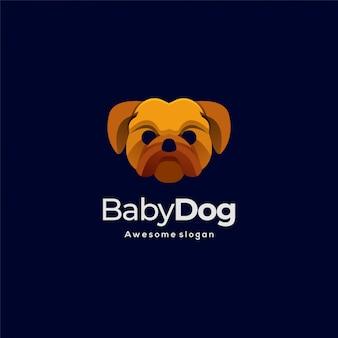 Logo illustratie schattige hond hoofd kleurrijke stijl.