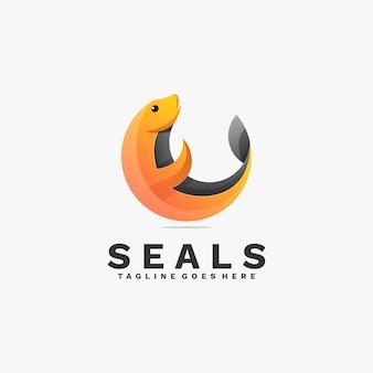 Logo illustratie zeehonden kleurovergang kleurrijke stijl.