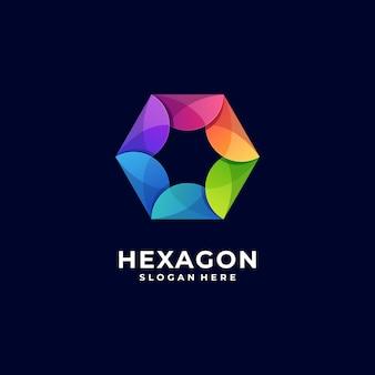 Logo illustratie zeshoek kleurovergang kleurrijke stijl.