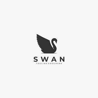 Logo illustratie zwaan silhouetstijl.