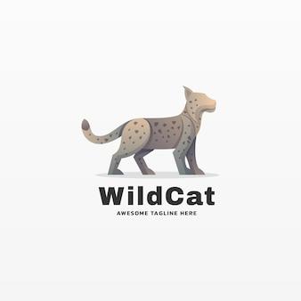 Logo illustration wilde cat gradient kleurrijke stijl.